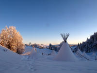 Night under a tipi in winter