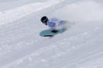 Toboggan downhill on snow