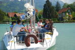 Sailing boat activity at Annecy