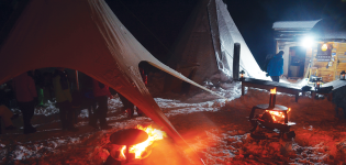 Winter evening at Tipi Village