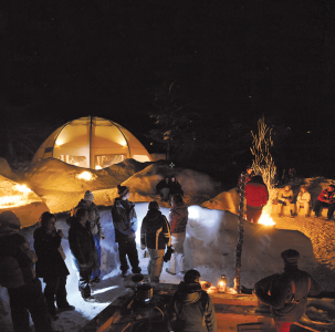 Eco-bivouac evening winter