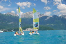 Boat catamaran lake Annecy