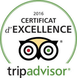 Certificat d'Excellence 2016 par Trip Advisor